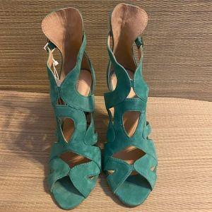 Zara green suede strappy sandals